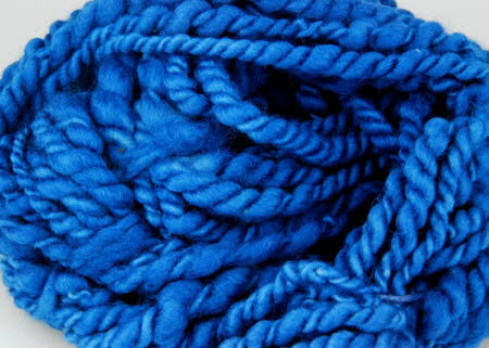 chunky wool dyed with woad